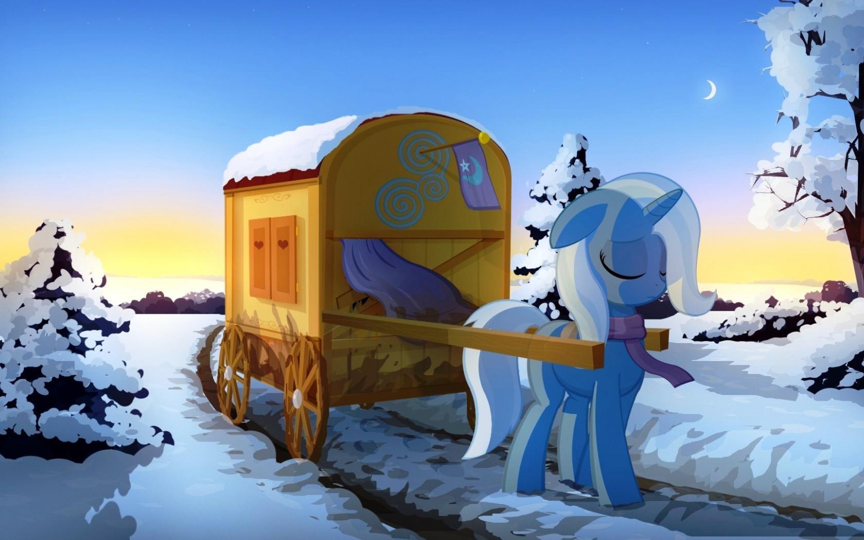 Картинка из фильма пони повозка снег